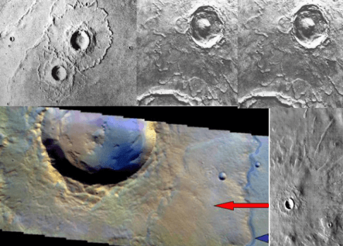 mars impact crater rampart