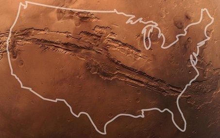 mars impact crater valles marineris