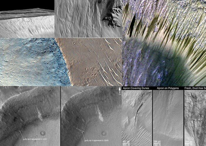 Mars Impact Craters Water Gullies