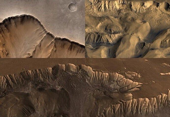Mars Impact crater valles marineris scalloping edges