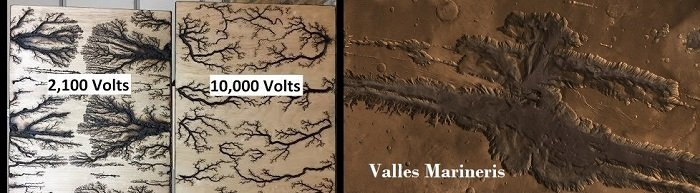 Mars Impact Crater Licthenberg and Valles comparison