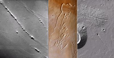 mars impact crater chains