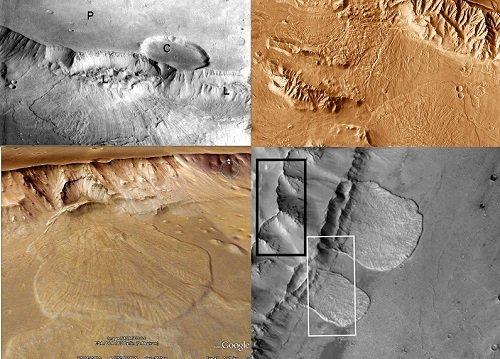Mars Impact Crater lava flow of valles marineris