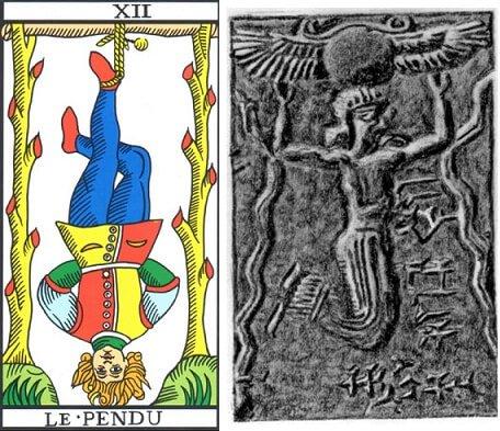 Origins of tarot hanged man motif