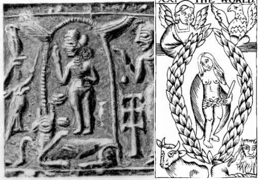 Origins of tarot Sumerian Glyph World Card