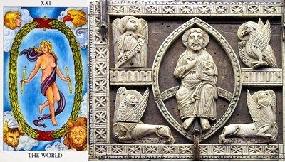 Origins of tarot World Card 4 Christian Figures