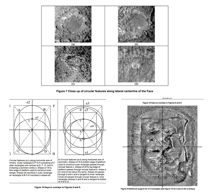 face of mars ellipse geometry 4 circular structures